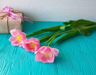 Три, розовых, тюльпан