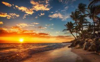 the sky, clouds, the ocean, the beach, the sun