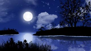 creative, art, picture, night, night, nature, landscape, the moon, Lunar, star, stars, grass, tree, trees, Bay, the lake, озёрный, river, river, water, the sky, light