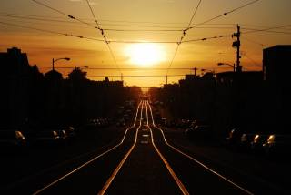 railway, sunset