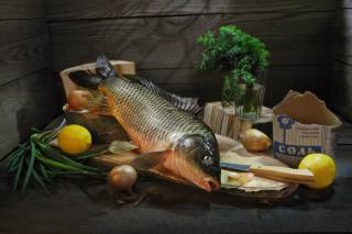 glass, Board, fish, bow, dill, knife, lemons, salt, засолка, Сергей Фунтовой