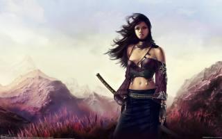 katana, holka, Válek, Meč, obrázek, krásně, vlasy, dlouhé, hory, vítr