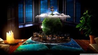 Fantasy Wallpapers, fantasy umění, dům, stromy, vesnice
