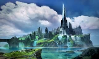 арт художественное произведение озеро, архитектура conceptart облака