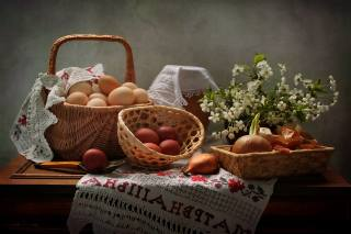 branches, cherry, table, holiday, basket, EGGS, milk, bow, Easter, spoon, eggs, wipes, towel, pot, Ковалёва Светлана