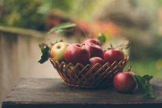 table, basket, fruit, apples