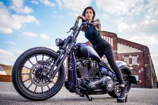girl, in black, motorcycle, HARLEY-DAVIDSON, Nighttrain, Thunderbike, Ben Ott
