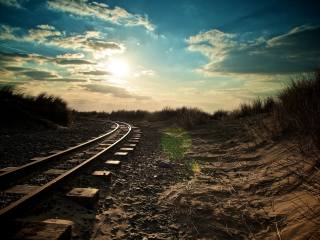railway, the sun, morning