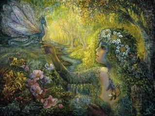 obraz, malování, stromy, květiny, surrealismus, dragon, Josephine Wall, les, potok, fantasy, Жозефина Уолл, дриада, Víla, fantasy