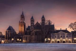 нидерланды, храм, церковь, Maastricht, ночь, Уличные фонари, город