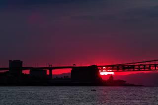 закат, река, мост, вечер, Красный, сумерки