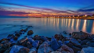 Испания, побережье, камни, вечер, море, Torre del Mar Malaga province, залив, природа