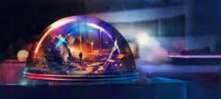 фото Искусство фэнтези, noc, prostor, úvahy, modrá, sklenici, dome, lehký, barva, осветительные приборы, divadlo
