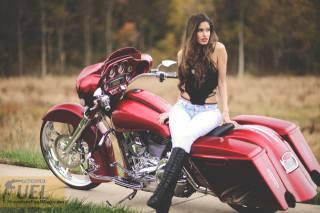 Burgundy, motorcycle, Road King, biker