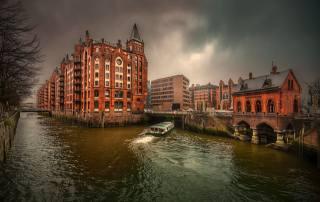 Гамбург, Германия, канал