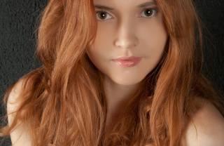 рыжая, лицо, волосы, красивая