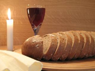 bread, Glass, wine, Candle, Flame