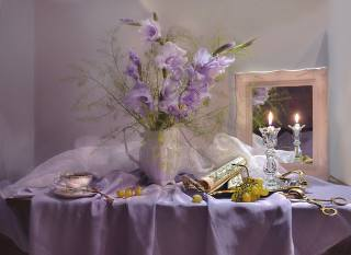 table, tablecloth, fabric, pitcher, flowers, Гладиолусы, roll, notes, Candle, candlestick, mirror, Cup, tray, berries, grapes, still life