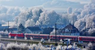 railway, train, nature, winter, trees, home