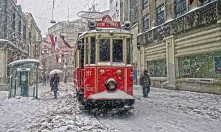 tram, winter, snow, people, street