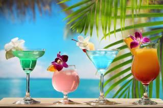 drink, cocktail, алкогольный, tropical, Colorful, Glass, flowers, flower, Orchid
