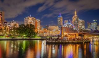 Austrálie, melbourne, doma, řeka, most, večer, kavárna, město