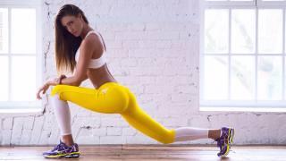 Fitness, girl, brown hair, yoga