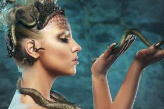 модель, змея, лицо, животные, Фэнтезийная девушка