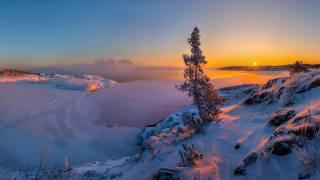 hory, nebe, slunce, západ slunce, sníh