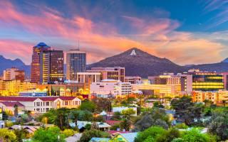 Tucson, 4K, pohledy na město, západ slunce, arizona
