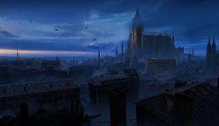 фентезі, темно, захід сонця, місто