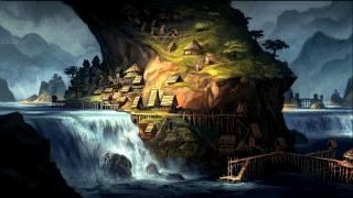 будинок, пагорби, село, річка, світ, печера