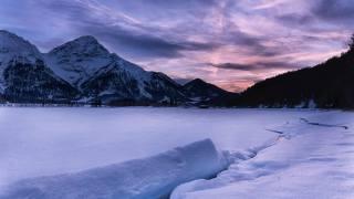 zima, sníh, jezero, hory, soumrak, mraky