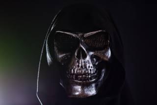 маска, череп, капюшон, темний