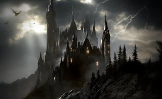 ХУДОЖЕСТВЕННОЕ ПРОИЗВЕДЕНИЕ, dark sky castle, фентезі арт