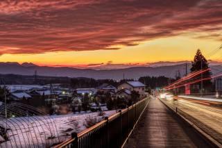 Japan, home, road, закат Зима, Numata, the fence, the city