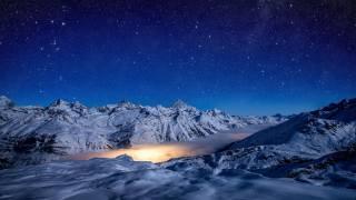 hvězdné nebe, zima, hory, noc