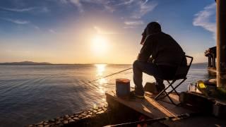 člověk, rybaření, jezero, svítání, ráno
