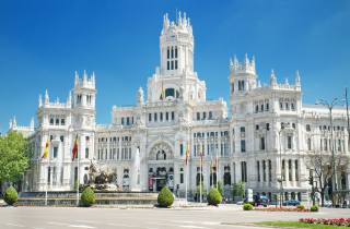 Spain, Madrid, Fountain, monument, Cybele, palace, the Palace, Уличные фонари, the city