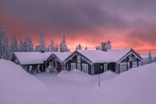 зима, снег, деревья, пейзаж, природа, рассвет, дома, утро, ели, сугробы, Jorn Allan Pedersen, Allan Pedersen