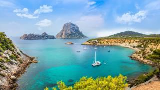 Spain, island, yacht, coast, Ibiza, Balearic archipelago, Mediterranean Sea, Bay, nature
