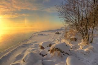зима, вода, снег, деревья, пейзаж, природа, река, берег, камни, лед, мороз