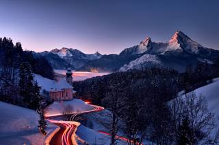 зима, дорога, сніг, краєвид, гори, природа, пагорби, вечір, баварія, освітлення, альпи, церква, Ліси, Rene Unger