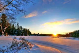 канада, квебек, природа, пейзаж, озеро, деревья, КУСТЫ, зима, снег, вечер, закат