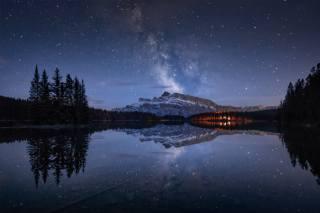 banff, Národní Park, jezero, hory, noc, soumrak