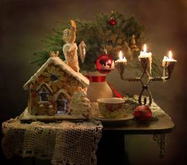 holiday, New year, Christmas, table, napkin, cakes, the house, vase, branches, spruce, tree, Toys, decoration, Cup, candlestick, candles