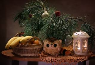 decoration, branches, table, holiday, Toys, New year, Christmas, lantern, lemur, fruit, bananas, basket, pine, napkin