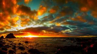 západ slunce, moře, břeh, příroda