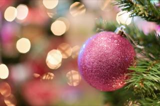 holiday, New year, Christmas, branches, spruce, tree, needles, toy, ball, bokeh