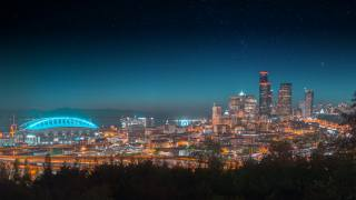 the city, the lights of the city, starry sky, architecture, panorama